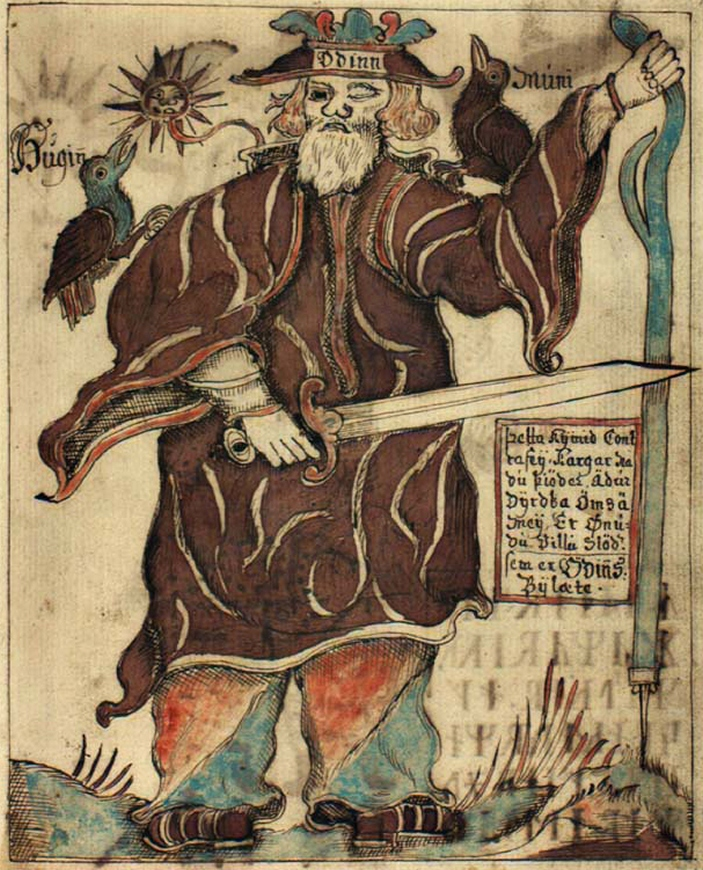 02_Y odin_with_his_two_crows_hugin_and_munin_poster
