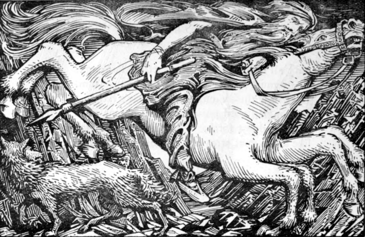 04_Y Odin_rides_to_Hel W G Collingwood 1908