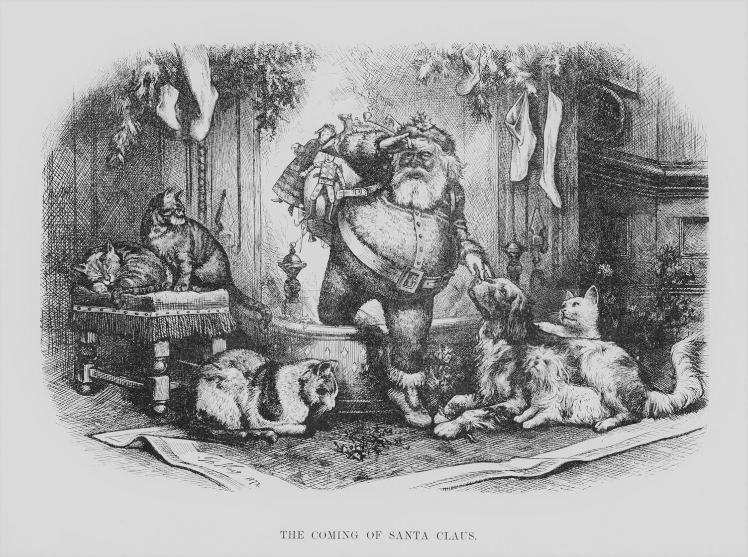 Nast Collection The-coming-of-Santa-Claus-1872 Jolly Old Elf arrival to pets