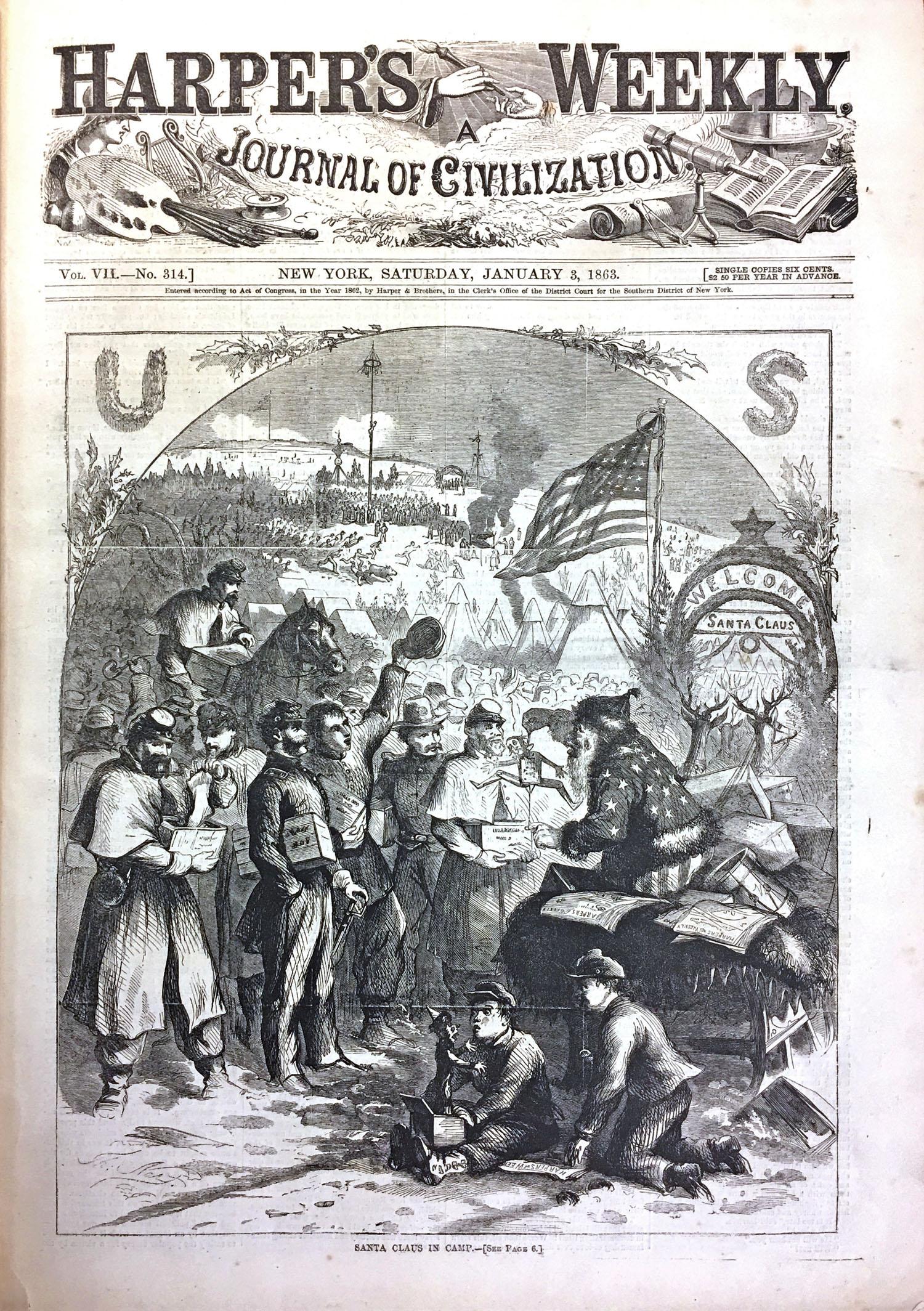 Nast first drawing of Saint Nick, Santa Claus in CampWeekly Cover-January-3-1863 Thomas Nast