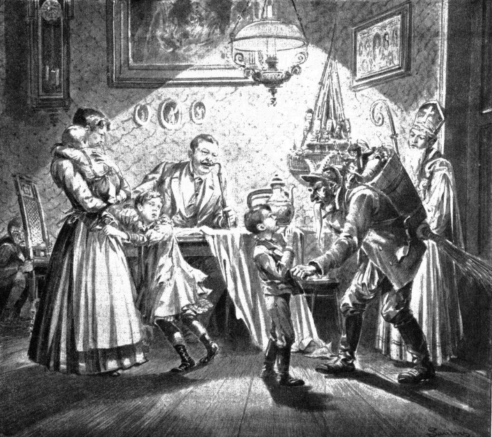 Saint Nicholas and Krampus visit a Viennese home 1896 illustration