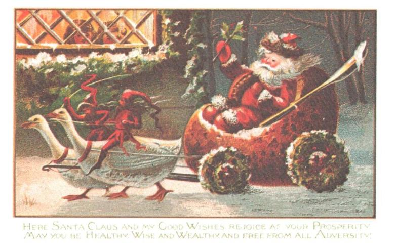 Swan-pulled-strawberry-sled-with-demons-reprinted-1870s-post card Kemper Chambers Collection