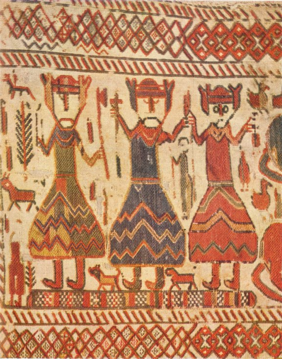 Three figures 12th-century Skog tapestry have been interpreted as the Norse gods Odin Thor and Freyja