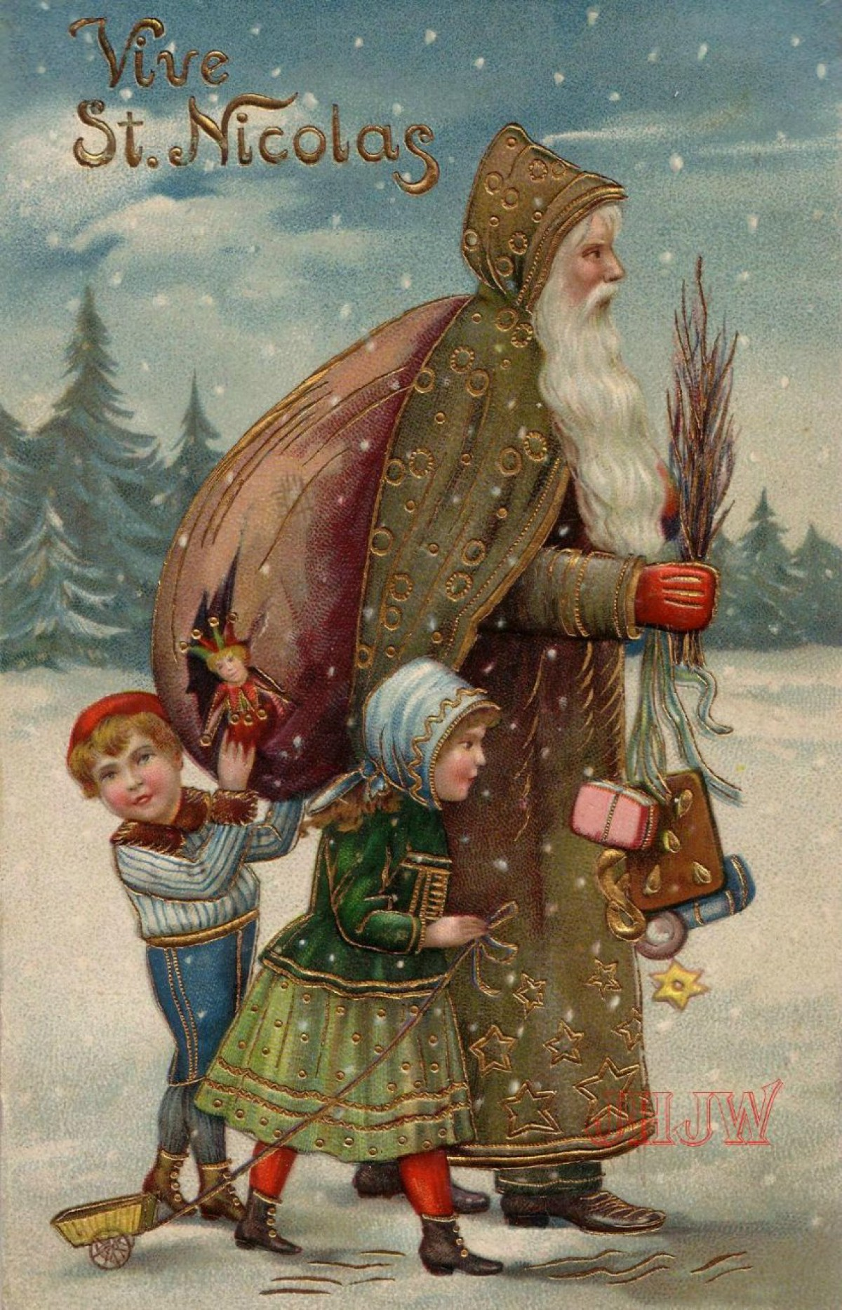 Victorian English Father Christmas in Green